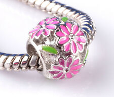 1pcs silver flowers surround big hole Beads Fit European Charm Bracelet #A789