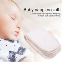 10Pcs Reusable Washable Cotton Baby Cloth Diaper Nappy Liners Inserts 3 Layers