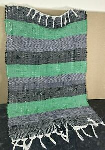 Attractive Boho Style Green Blue and Grey Striped Woven Rag Rug with Tassels