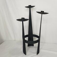 Vintage Mid Century Brutalist Style Iron Candle Holder Sculpture Matte Black