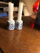 Miniature blue onion candle stick holders