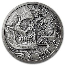 Limited 1 oz Hobo Nickel Antiqued Art Round (Jefferson Skull) Silver w/ COA