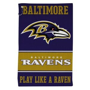 """BALTIMORE RAVENS ALL PURPOSE GOLF TAILGATE TOWEL 16""""X25"""" HOOK AND GROMMET"""
