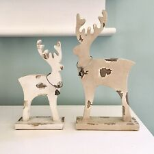 Christmas Reindeer Set Wood Rustic Mantel Tabletop Decor New! Bells