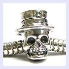 Sterling Silver Skeleton w/ Hat Halloween Head Bead for European Charm Bracelet
