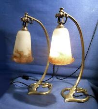 PAIRE DE LAMPES  ARTICULÉES EN BRONZE ET TULIPES PÂTE DE VERRE SIGNÉES MULLER