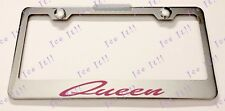 Queen Pink Stainless Steel License Plate Frame Rust Free W/ Bolt Caps