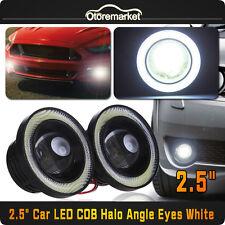 2x 2.5 Inch Car Projector LED Fog Light COB White Halo Angel Eye Ring Bulb Lamps