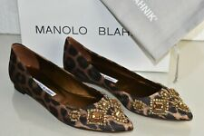 8d82877b5ffaa Manolo Blahnik TITTO Leopard Satin Jeweled Crystals Flats Shoes 38