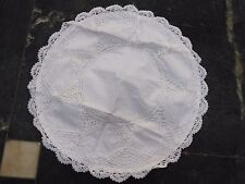 """LINEN LACE CUSHION COVER 16"""" WHITE HANDMADE COLORED"""