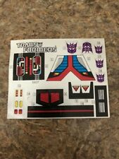 Astrotrain Decal Sticker Sheet G1 Transformers 1985 Vintage Action Figure