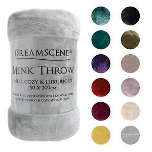 Dreamscene Large Luxury Faux Fur Throw Sofa Bed Mink Soft Warm Fleece Blanket