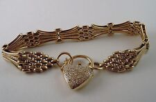 100% Genuine Vintage 9K Solid Yellow Gold Gate Heart Padlock Diamonds Bracelet