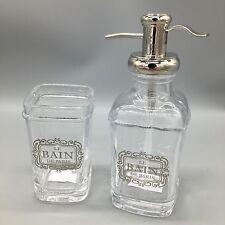 2pc Bella Lux Paris Liquid Soap Dispenser Toothbrush Holder Glass Set LE BAIN