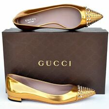 GUCCI New sz 38 - 8 Authentic Designer Womens Studded Ballet Flats Shoes gold