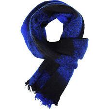 Mens Scarf Check Black Blue Warm Soft Knit Winter Knitted Neck Wrap Ski