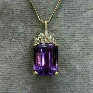 14k Yellow Gold Finish Emerald Amethyst Diamond Pendant Estate 2.50Ct Free Chain