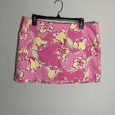 Lilly Pulitzer Size 10 Pink & Yellow Floral Mini Skirt Lined Cotton Casual
