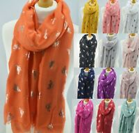 Bee Bumble Bees Rose Gold Metallic Foil Scarf Women Ladies Wrap New Colour Gift
