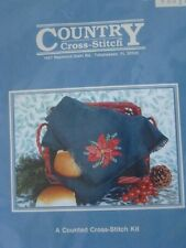 2 Country Cross Stitch Kits # 6601X Breadcover Cloth Poinsettia Christmas © 1990