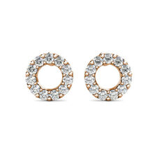 0.50Ct Created Diamond Open Round Halo Stud Screw Back Earrings