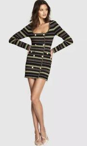 "ALICE MCCALL DRESS 12 BLACK MAGIC MINI DRESS ""BLAZER"" DRESS STYLE BUTTON RRP$395"