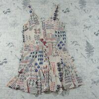 MINT! Club Monaco Drop Waist Rey Dress White Silk Mix Print Flared Hem womens 4