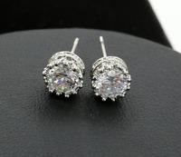 Beautiful Crystal Crown Stud Earrings set in Sterling Silver
