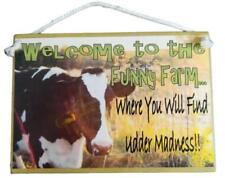 Country Printed Quality Wooden Sign And Hanger Funny Farm Cow Plaque New