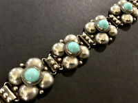 Vintage Early Mexico Sterling Silver and Blue Stone Puffy Link Bracelet