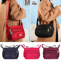Multi Pocket Nylon Cross Body Bags Messenger Handbag Shoulder Bag Zipper Purse
