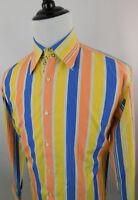Equilibrio Men's Long Sleeve Striped Dress Shirt Size Large L Yellow Blue Orange