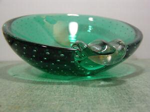 Dark Green Murano Controlled Bubble Ashtray Slanted Round Shape Cigar Mid Centur