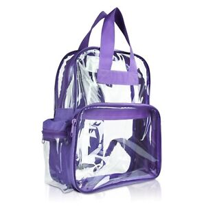 DALIX Clear Backpack Plastic Small School Bag in Purple Free Shipping