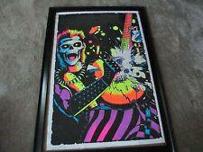 """Funky Enterprises Black Light Flocked Velvet """"Heavy Metal Guitarist"""" Poster MIP"""