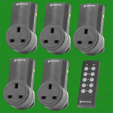 5x Black Wireless UK Plug-in Mains Socket & Remote Control Energy Saving Switch