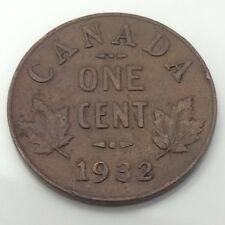 1932 Canada 1 One Cent Copper Penny Circulated Canadian Coin G031
