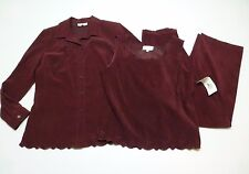 3 Piece Studio 1 Womens 12 Burgundy Shirt Tank & Pants Outfit New