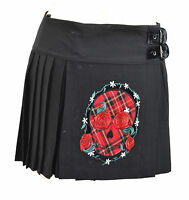 BLACK TARTAN SKULL KILT SKIRT BUCKLE XS S M L XL SKATER PLEATED PLAID PUNK ROCK