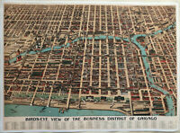 "Hi-Q XL-Format Poole Bros 1898 ""Bird's-Eye"" Chicago Map Facsimile Poster 36x50"