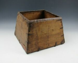 A Chinese Antique Wooden Rice Dou Measure Square Box Iron Fasteners Primitive