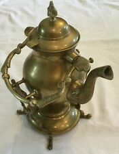 VINTAGE BRASS TILTING TEAPOT KETTLE W/STAND AND BURNER 3.5 Cup capacity