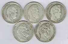 FRANCE - 5 PIECES de 5 FRS en ARGENT - LOUIS PHILIPPE.dates différentes.15.80.1