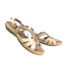 Yuu Azora Women Sz 9.5 Tan Leather Strap Buckle Braided Comfort Sandals NEW