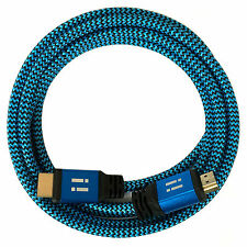 i!® 10m Premium Nylon High Speed HDMI 2.0 Kabel 3D/4K/UHD/FullHD/Ethernet blau