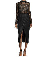 NWT $580 SELF-PORTRAIT Black Floral Lace Sequin Midi Dress Size 4/6/10