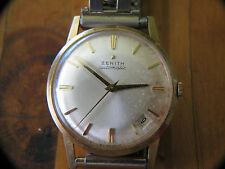Vintage 18k Gold Mens Zenith Automatic Offset Calendar Early to Mid 1960's?