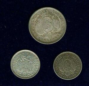 BOLIVIA REPUBLIC 1881 & 1909-H 20 CENTAVOS, 1898-PTS-CB 50 CENTAVOS SILVER COINS