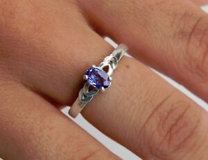 Tanzanite 6x4mm - .55 ct - Oval Ring Size 6.5 - Sterling Silver