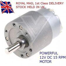 12V DC-alto esfuerzo de torsión alta potencia-Reversible Motor Eléctrico 15 Rpm & Caja De Cambio